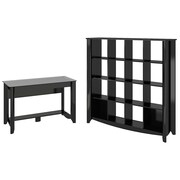 Bush Business Furniture Aero Writing Desk and 16-Cube Bookcase/Room Divider, Classic Black (AER014BK)