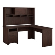 Bush Furniture Buena Vista L-Desk & Hutch, Madison Cherry