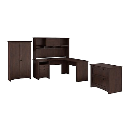 Bush Furniture Buena Vista 60W L-Desk with 60W Hutch, 2-Drawer Lateral File & 2-Door Tall Storage, Madison Cherry