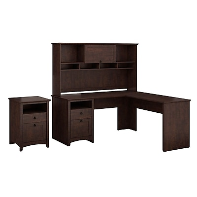 Bush Furniture Buena Vista 60W L-Desk With 60W Hutch & 2-Drawer Pedestal, Madison Cherry