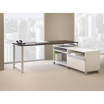 Bush Business Momentum Natural Maple 60W Desk with 3-Drawer Mobile Pedestal, Mocha Cherry, Installed