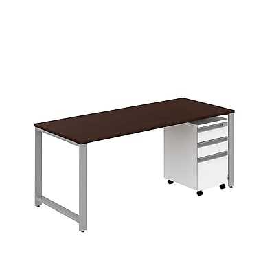 Bush Business Momentum 72W x 30D Desk with 3 Drawer Mobile Pedestal, Mocha Cherry, Installed