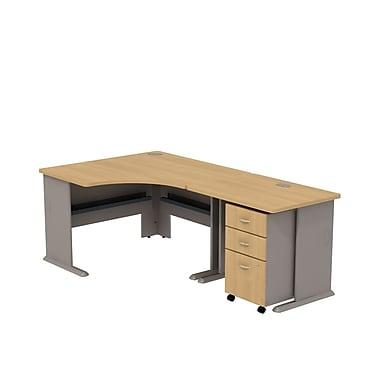 Bush Business Cubix 36W Desk with 48W Corner Desk & Mobile Pedestal, Danish Oak/Sage