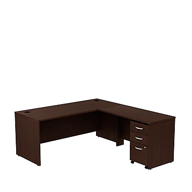 Bush Business Westfield 72W L- Desk with 3-Drawer Mobile Pedestal, Mocha Cherry, Installed