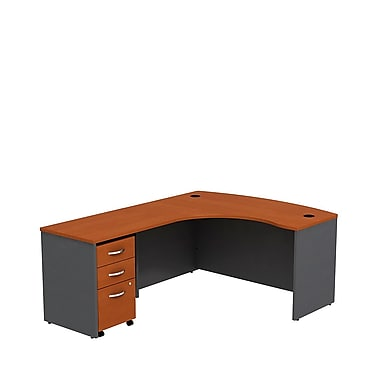 Bush Business Westfield 60W LH L-Bow Desk Shell with 3-Drawer Mobile Pedestal, Autumn Cherry/Graphite Gray, Installed
