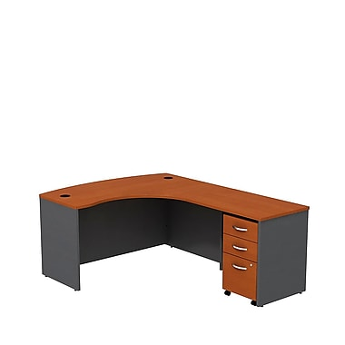 Bush Business Westfield 60W RH L-Bow Desk Shell with 3-Drawer Mobile Pedestal, Autumn Cherry/Graphite Gray, Installed