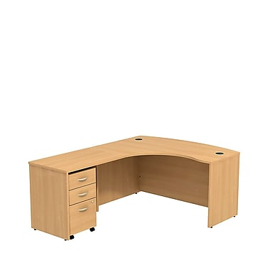 Bush Business Westfield 60W LH L-Bow Desk Shell with 3-Drawer Mobile Pedestal, Danish Oak, Installed
