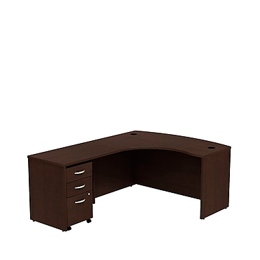 Bush Business Westfield 60W LH L-Bow Desk Shell with 3-Drawer Mobile Pedestal, Mocha Cherry, Installed