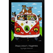 "Diamond Decor ""Peace Woof & Happines ! VW Bus with various Dogs"" Framed Poster"