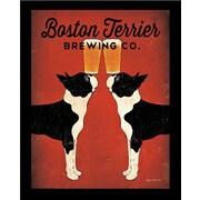 """Diamond Decor """"Boston Terrier Brewing"""" Framed Art Print Poster"""