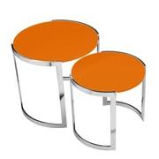 Pangea Home Omni 2 Piece Nesting Table Set; Orange
