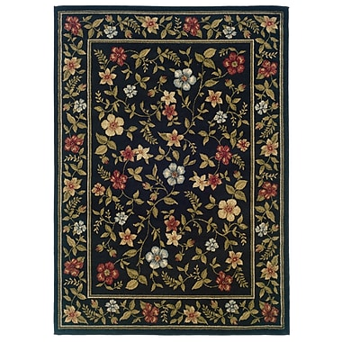 StyleHaven Floral Black/ Green Indoor Machine-made Polypropylene Area Rug (3'3