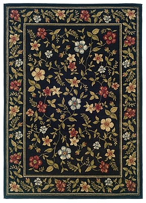 Floral Black/ Green Indoor Machine-made Polypropylene Area Rug (5' X 7'3