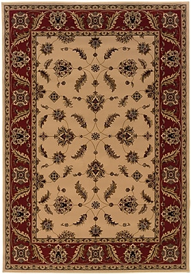 StyleHaven Oriental Ivory/ Red Indoor Machine-made Polypropylene Area Rug (5'3