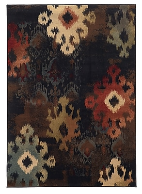 Abstract Ikat Black/ Brown Indoor Machine-made Polypropylene Area Rug (5'3