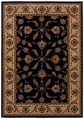 StyleHaven Oriental Black/ Ivory Indoor Machine-made Polypropylene Area Rug (7'10