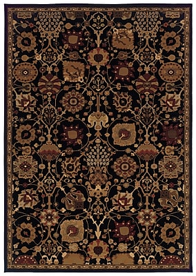 StyleHaven Oriental Black/ Multi Indoor Machine-made Polypropylene Area Rug (3'10