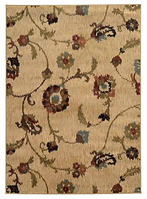 Floral Tan/ Multi Indoor Machine-made Polypropylene Area Rug (6'7