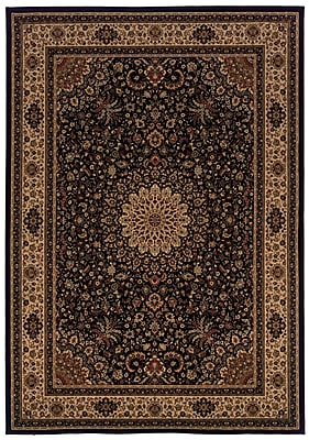 StyleHaven - Oriental Black/ Ivory Indoor Machine-Made Polypropylene Area Rug (5'3