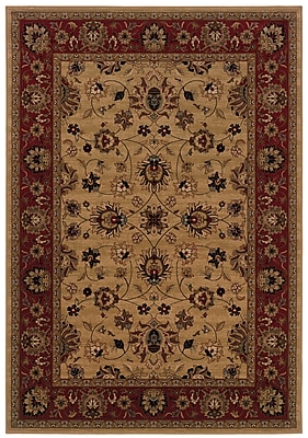 StyleHaven-Oriental Ivory/ Red Indoor Machine-made Polypropylene Area Rug (5'3