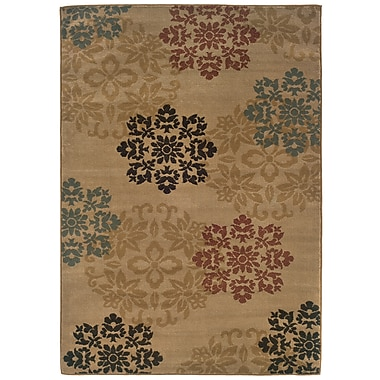 StyleHaven Floral Gold/ Red Indoor Machine-made Polypropylene Area Rug (5' X 7'3