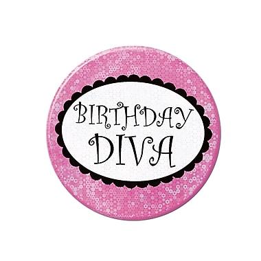 Badge « Birthday Diva », 3 1/2 po, 6/paquet
