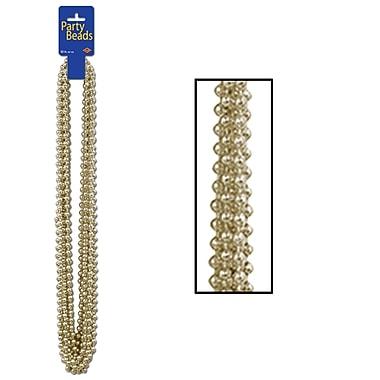 Colliers de perles de fête, petites perles rondes, 7 mm x 33 po, doré, 48/paquet