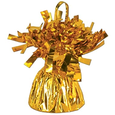 Metallic Wrapped Balloon Weight, Each Photo/Balloon Weight Weighs 6 Ounces, Gold, 14/Pack