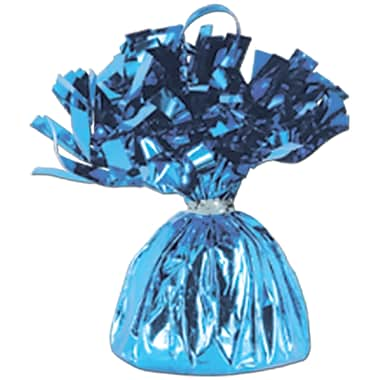Metallic Wrapped Balloon Weight, Each Photo/Balloon Weight Weighs 6 Ounces, Light Blue, 14/Pack