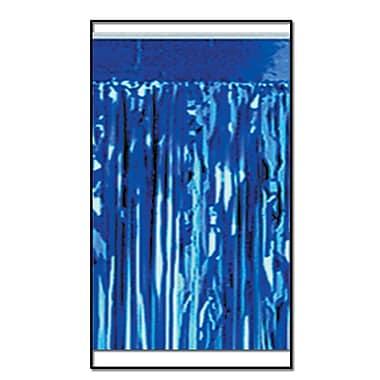 Draperie à franges métallisées, 2 épaisseurs, non inflammable, 15 po x 10 pi, bleu, 2/paquet