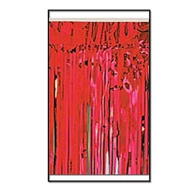 Draperie à franges métallisées, 2 épaisseurs, non inflammable, 15 po x 10 pi, rouge, 2/paquet