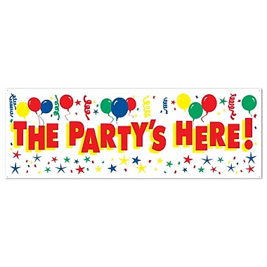 The Party's Here! Sign Banner, 5' x 21