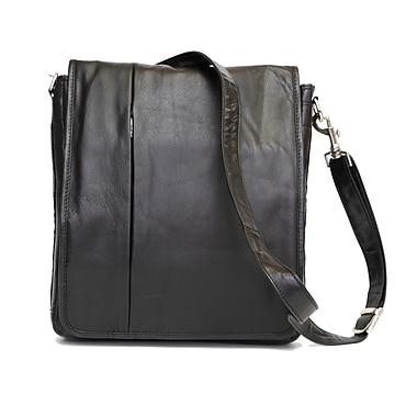 Ashlin® Sunderland Messenger Bag with Top Flap and Laptop Section, Sleek Design, Black