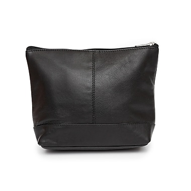 Ashlin® Giselle Top Zippered Cosmetic Bag Trim, Mid Sized, Black