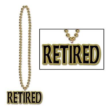 Collier de billes avec médaillon Retired, 36 po, 4/paquet