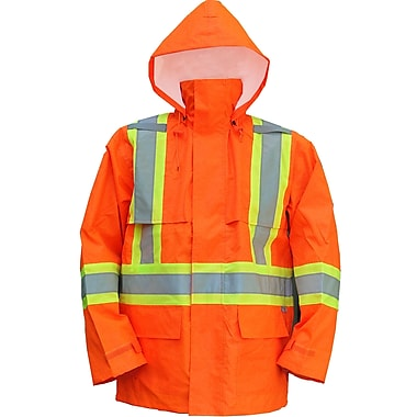 Open Road 150D Hi-Viz Waterproof Safety Rain Jacket, Fluorescent Orange, Medium