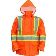 Open Road 150D Hi-Viz Waterproof Safety Rain Jackets, Fluorescent Orange