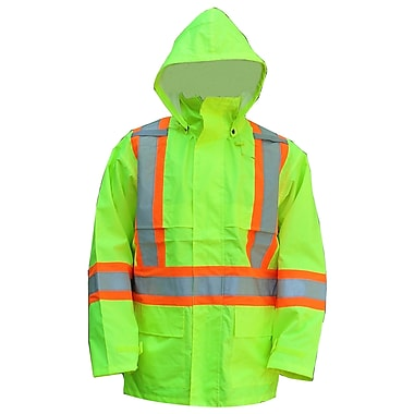 Open Road 150D Hi-Viz Waterproof Safety Rain Jacket, Fluorescent Green, X-Large