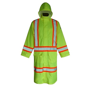 Viking Hi-Viz 150D Waterproof Safety Long Coat, Fluorescent Green, Large