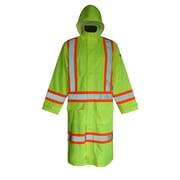 Viking Hi-Viz 150D Waterproof Safety Long Coats, Fluorescent Green