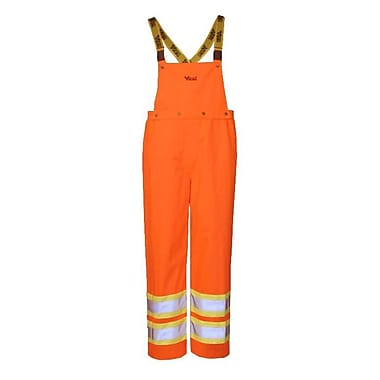 Viking Journeyman 300D Waterproof Insulated Safety Detachable Bib Pants, Fluorescent Orange, Small