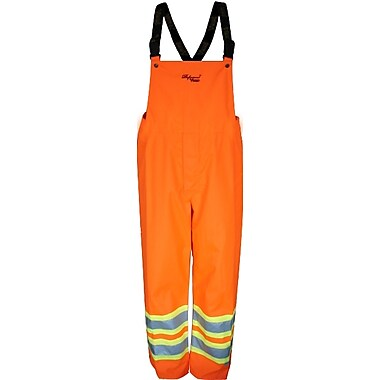 Viking Professional Arctic 300D Waterproof Insulated Safety Bib Pants, Fluorescent Orange, Large