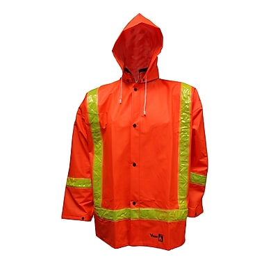 Open Road – Veste de sécurité imperméable en PVC, traitement antiflamme, orange fluorescent, moyen