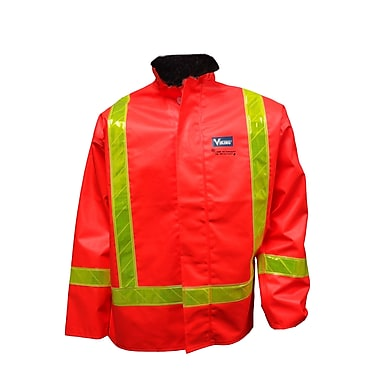 Viking – Veste de sécurité imperméable en PVC, traitement antiflamme, orange fluorescent, grand