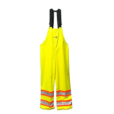 Viking FR 3M Scotchlite™ Striped PU Waterproof Bib Pant, Fluorescent Green, Large