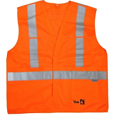 Viking FR Treated Premium Polyester Safety Vest, Fluorescent Orange, 4X-Large/5X-Large, 3/Pack