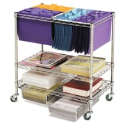 Seville Classics  Chrome File Cart With Drawers