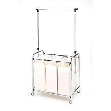 Seville Classics 3 Bag Laundry Sorter With Hanging Bar