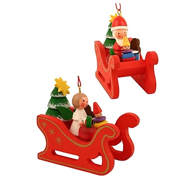 Alexander Taron Christian Ulbricht Angels/Santa'S in Sleigh Ornament (Set of 6)