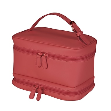 Royce Leather Travel Cosmetic Bag, Red, Debossing, Full Name